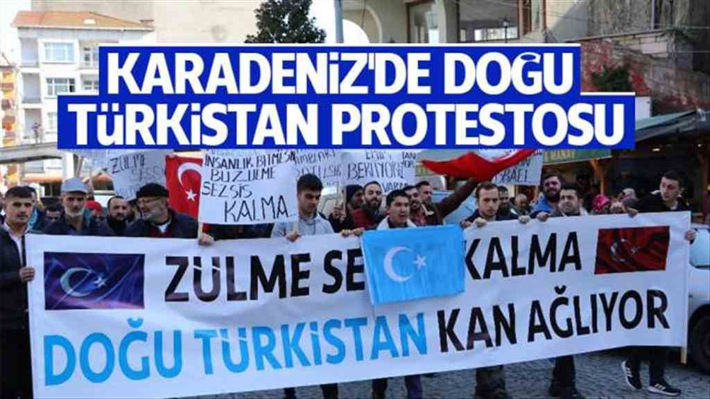 Karadeniz'de Doğu Türkistan protestosu