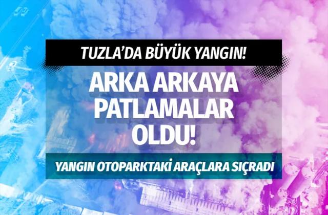İstanbul Tuzla'da sanayi bölgesinde yangın bölgeden dumanlar yükseliyor